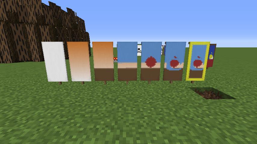 Hand with apple Minecraft banner Minecraft banners