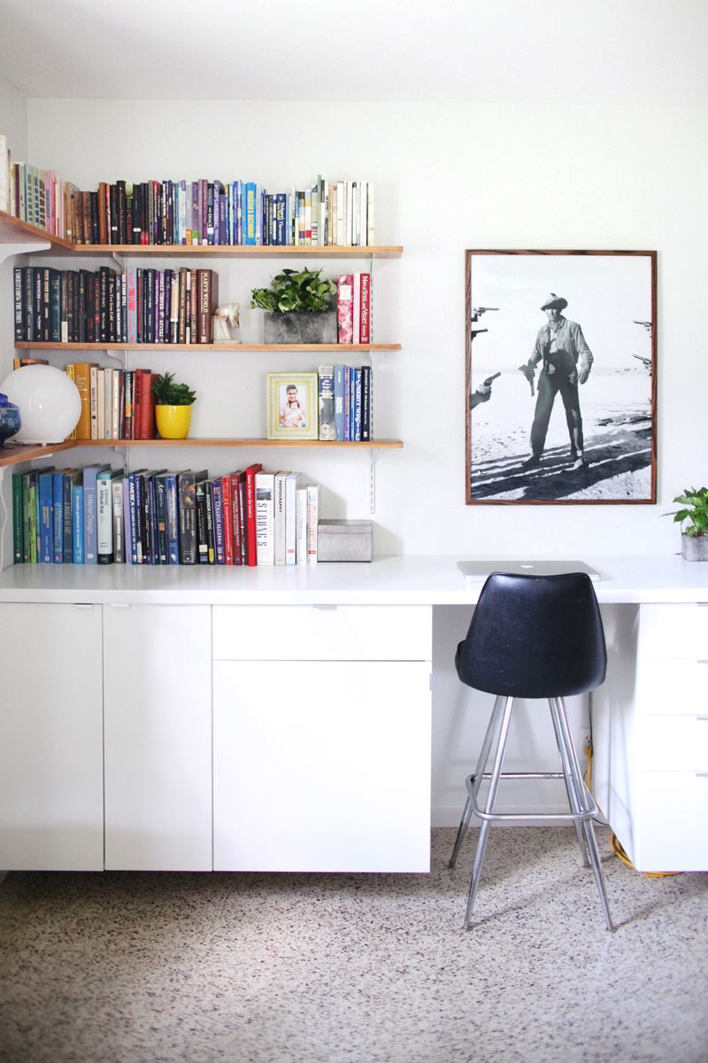 Make a long built in style desk by hanging cabinets and creating make a long built in style desk by hanging cabinets and creating your own shelves above amipublicfo Images