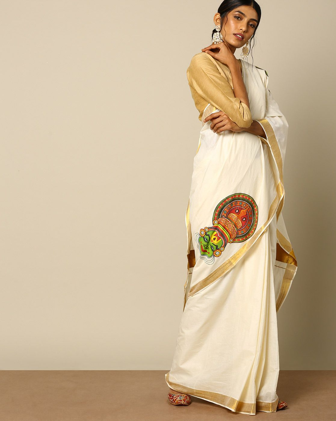 Indie picks kerala kasavu mural printed cotton saree saree