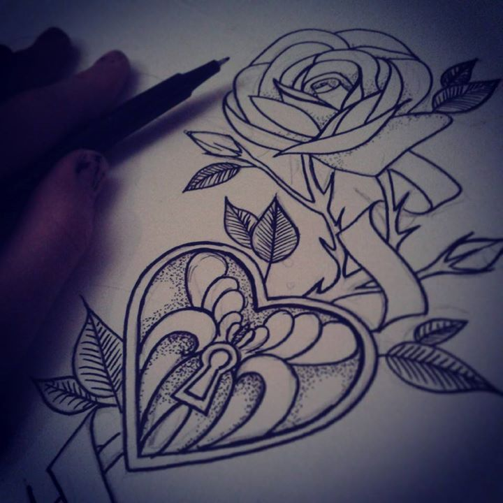 Heartlocker Tattoo Idea, With A Rose.