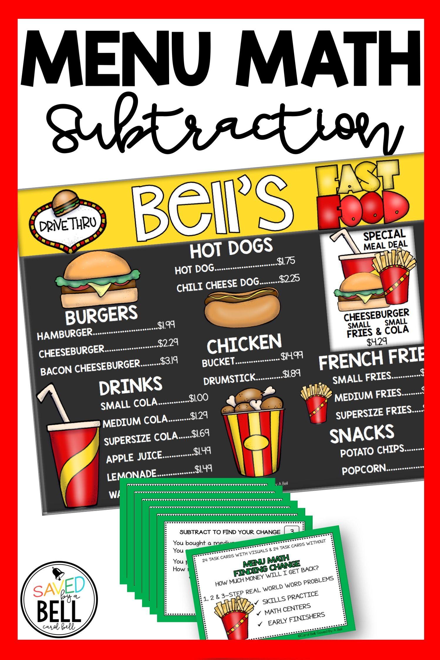 Subtraction Money Task Cards Menu Math