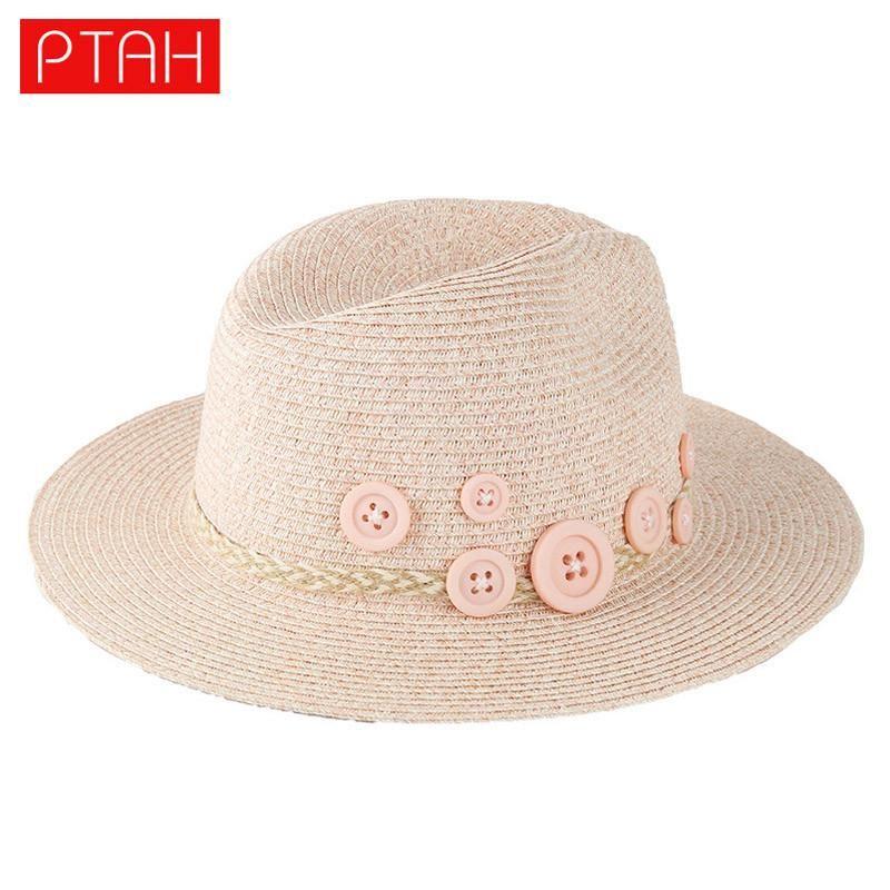 PTAH 2017 New Arrival Ladies Summer Wide Large Brim Floppy Straw Beach Sun Hats For Women Elegant Adjustable Bownot Chapeau 104