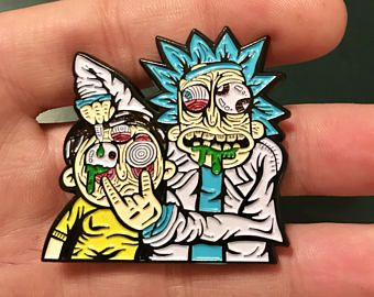 Rick dropping acid on morty hat pin | Entheos Hat pins | Hat