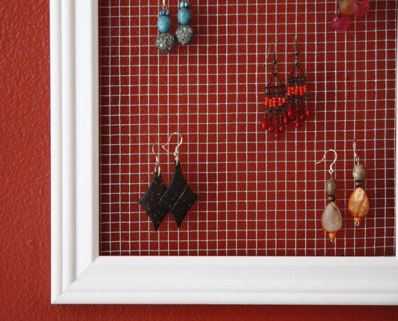 Earring Holder Display 7x14 White Wire Mesh Hanger Trendy
