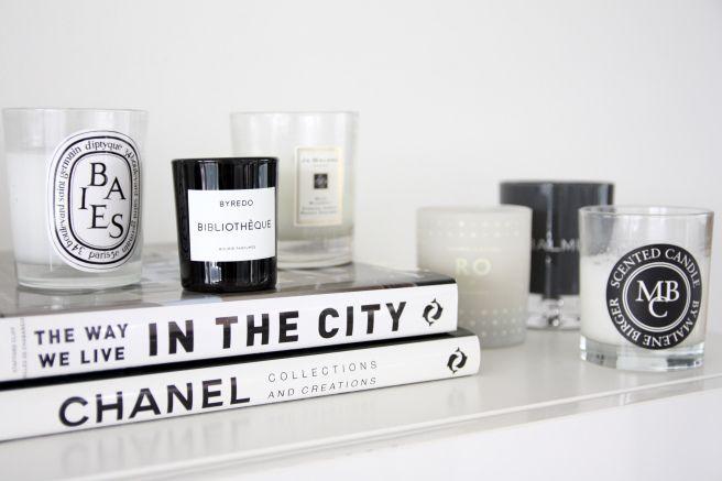 Homevialaura | scented candles | diptyque | Byredo | Jo Malone | Skandinavisk | Balmuir | By Malene Birger | coffeetablebooks