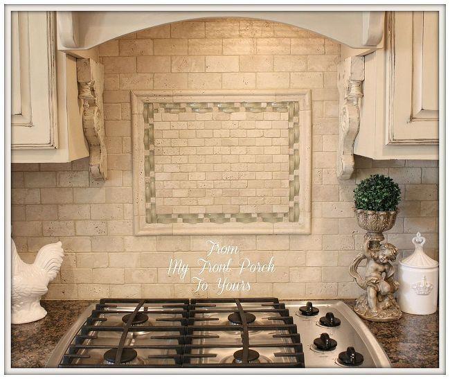diy kitchen makeover, diy, kitchen backsplashes, kitchen design, kitchen islands, painting, Travertine Tile Back Splash