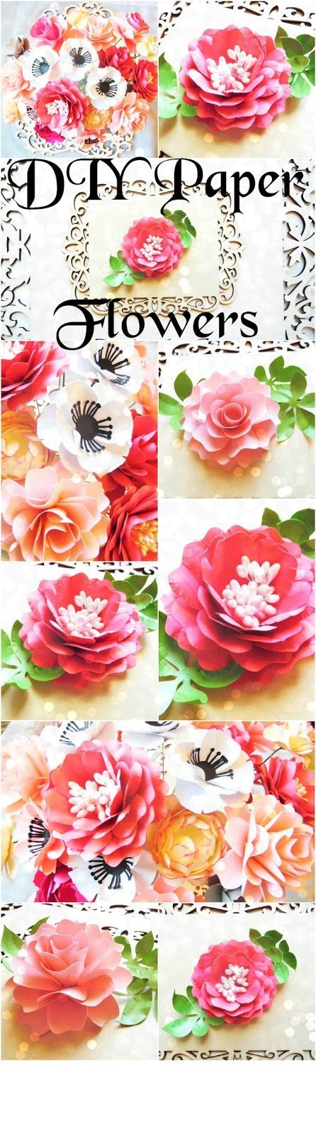 How to DIY a Paper Flower Bouquet #easypaperflowers DIY paper flower bridal bouquet. Easy paper flowers. Flower templates and tutorial. #easypaperflowers