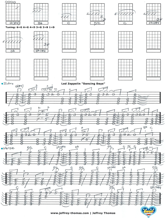Led Zeppelin Dancing Days Guitar Tab by Jeffrey Thomas. A great ...