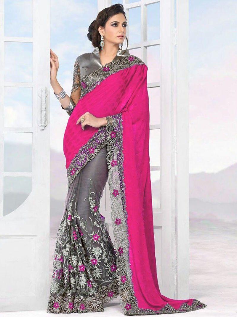 Pink with grey designer embroidery saree cthb designer saree