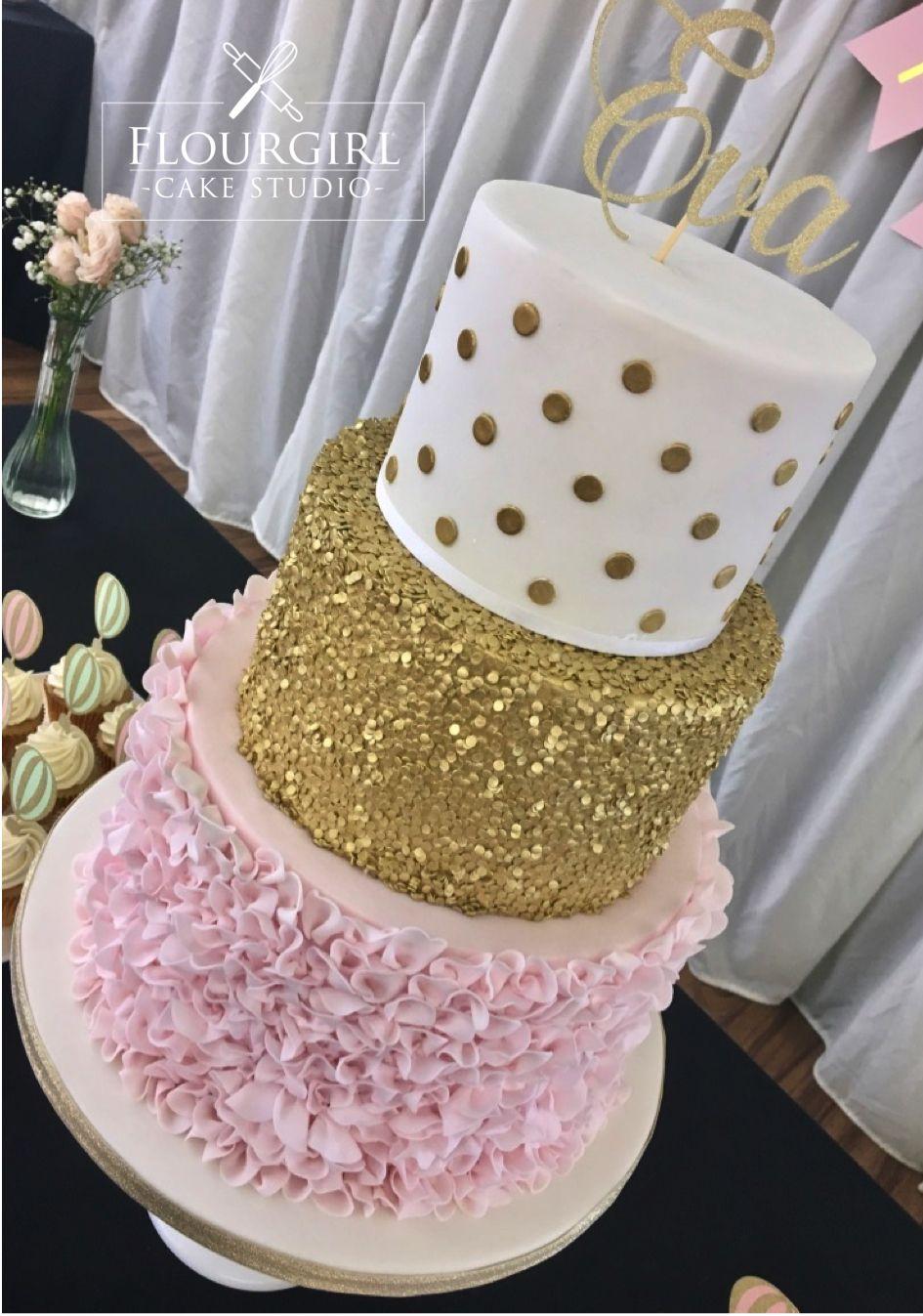 Three Tier Pink White Gold Cake Girly Birthday Cake Pink