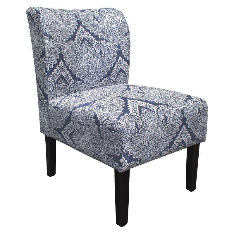 Best Master Furniture Middleton Azure Damask Slipper Chair