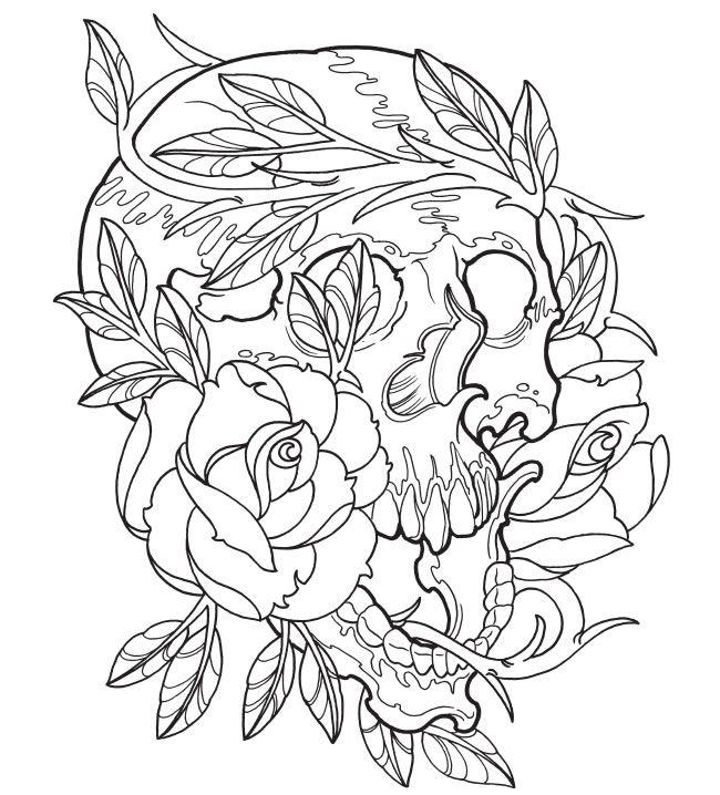 Mandala Kleurplaten Rozen.Kleurplaat Schedel Rozen Kleurplaat Coloring Pages Adult