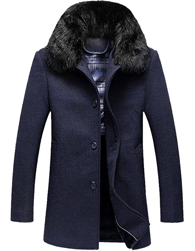 XQS Mens Stand Collar Single Breasted Outwear Wool Blend Overcoat