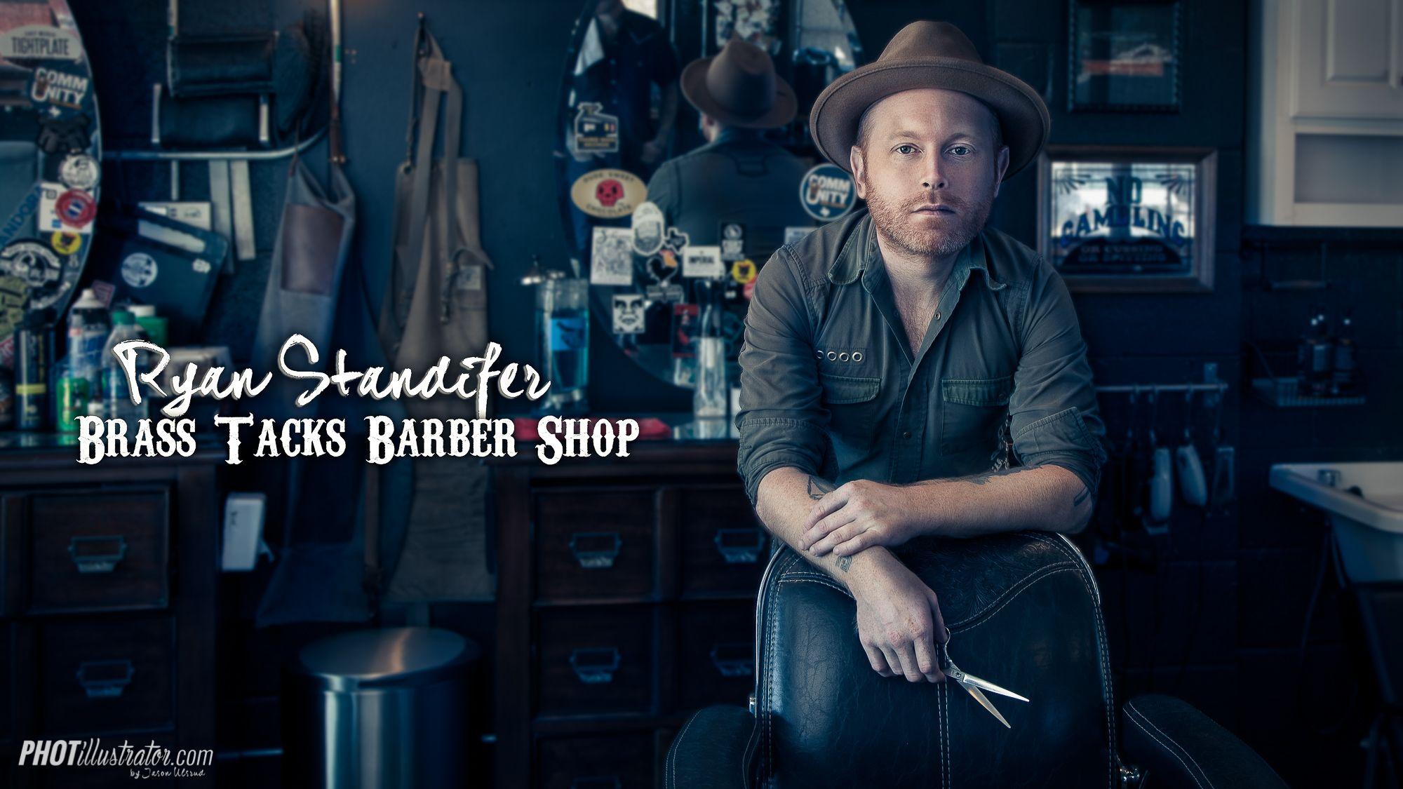 Ryan Standifer Rocks Some Serious Scissors At Brass Tacks Barber Shop In Dallas Tx Barber Shop Editorial Portrait Dallas Photographers