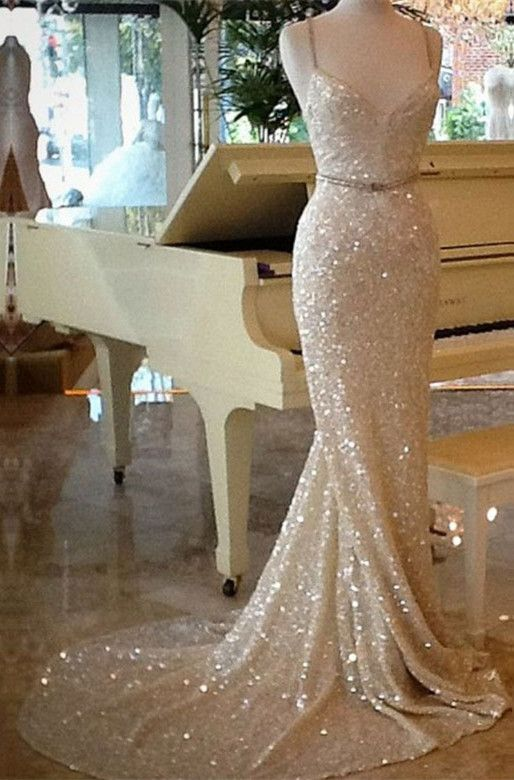 Elegant Spaghetti Straps Sequins Mermaid Champagne Evening Dress ... cd8f1e24953c