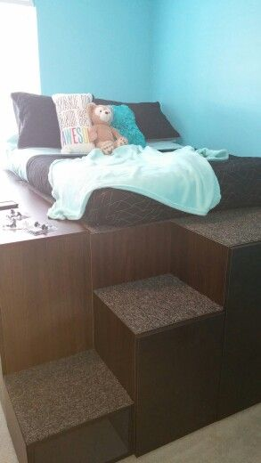 Dad 39 s ikea hack to create bed with storage for kids is so for Ikea bed hack storage