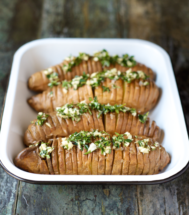Photo of Hasselback Sweet Potatoes with Herb Ghee – Steph Gaudreau