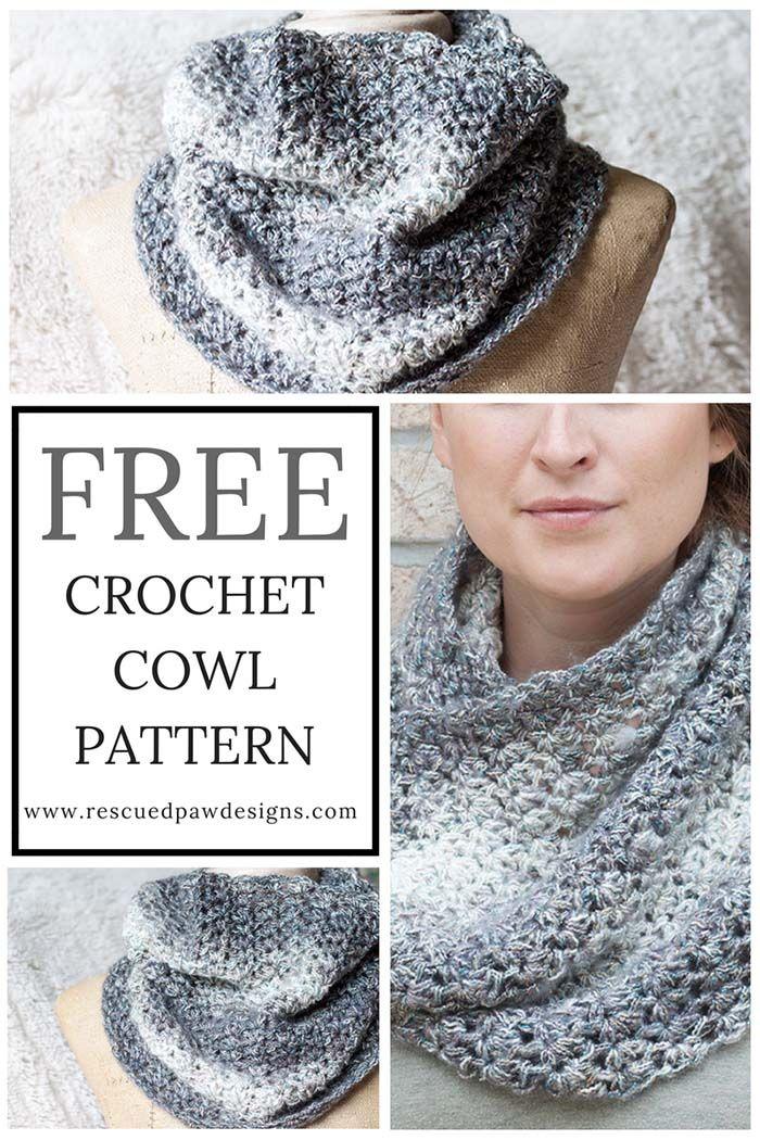 Free Shimmering Snow Cowl Crochet Pattern   Cestas y Tejido