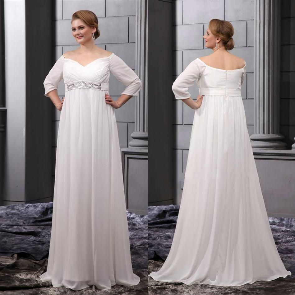 Chiffon 2015 summer plus size empire waist maternity beach for Long sleeve plus size wedding dress
