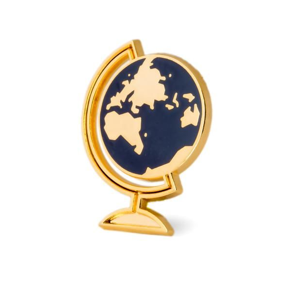 "Let's go everywhere Gold pin with colored enamel Rubber backing Measures 1.25"" tall"