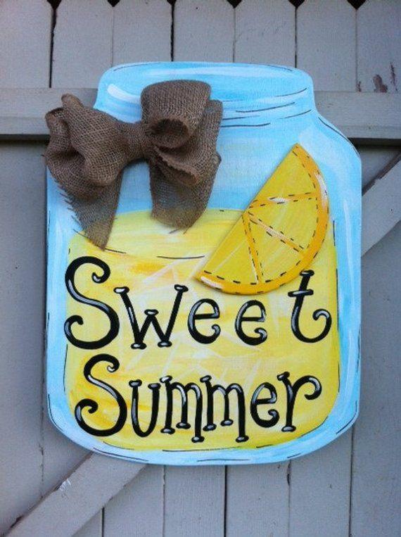 Photo of Summer Lemonade Mason Jar Personalized Monogram Wood Door Hanger Burlap Bow