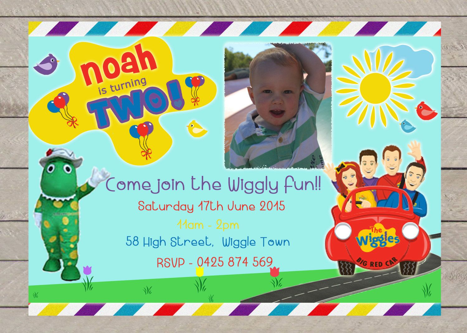 Boys WIGGLES Birthday Party Invitation Personalized Digital print