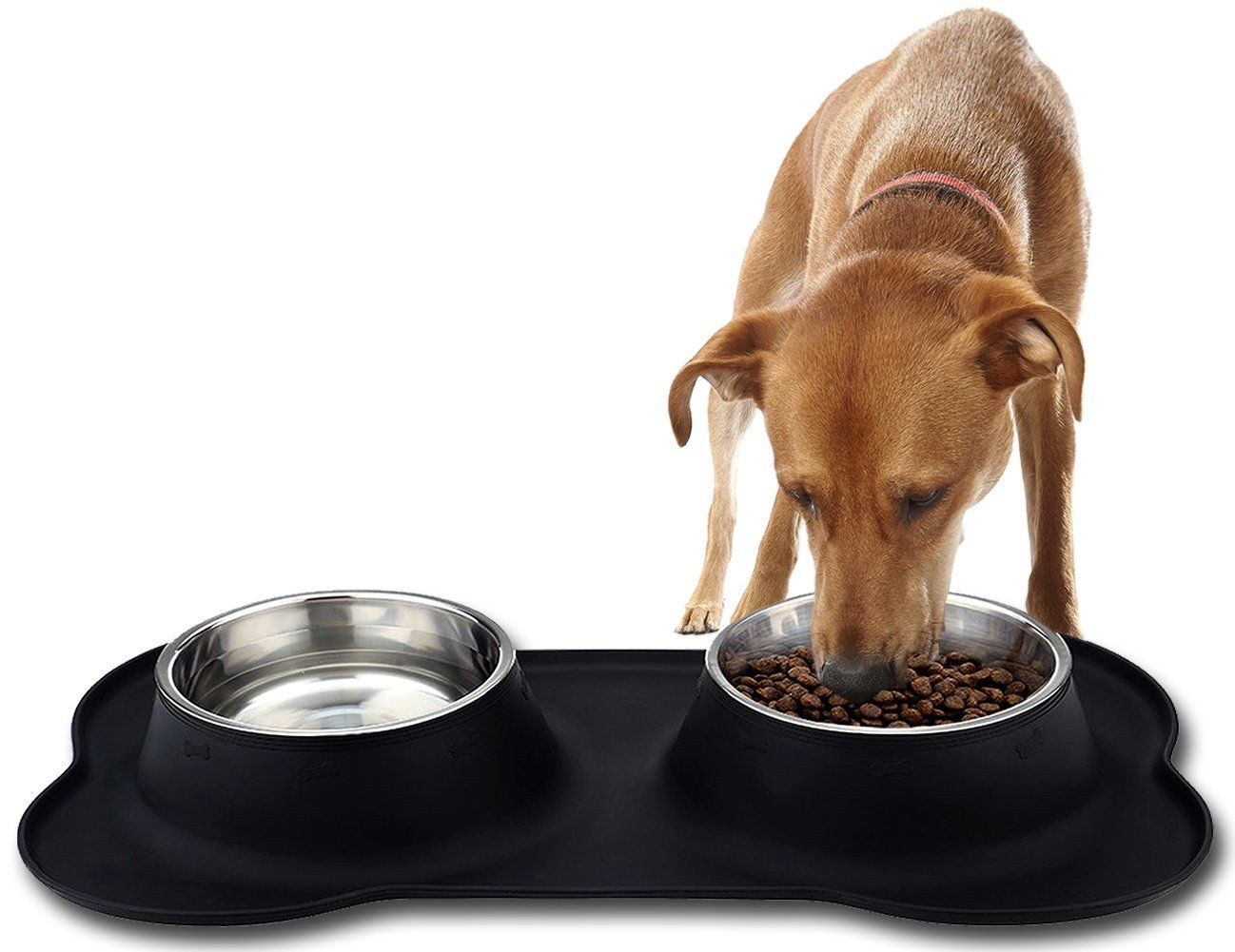 Voao Bone Dog Bowl Set Stainless Steel Dog Food Water Bowl With