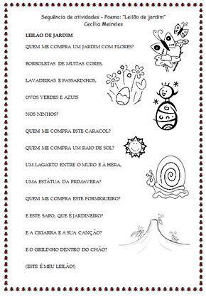 Sequência de atividades de alfabetização - Poema \