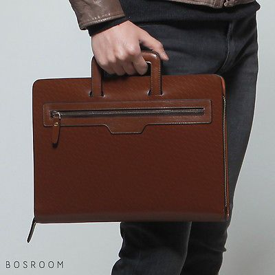 Bosroom Men/'s Genuine Cow Leather Clutch Tablet Handles Portfolio Bag Business