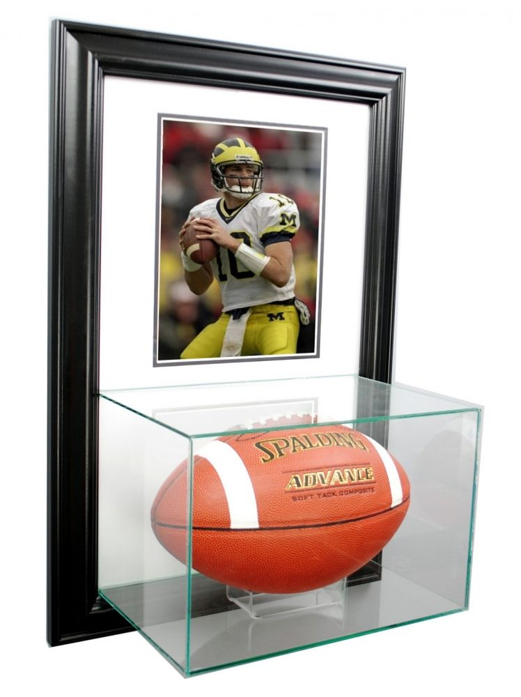 Wall Mounted Football With 8x10 Photo Display Case With Black Wood Frame Displaycase Autograph 11 Display Case Sports Display Cases Football Display Cases