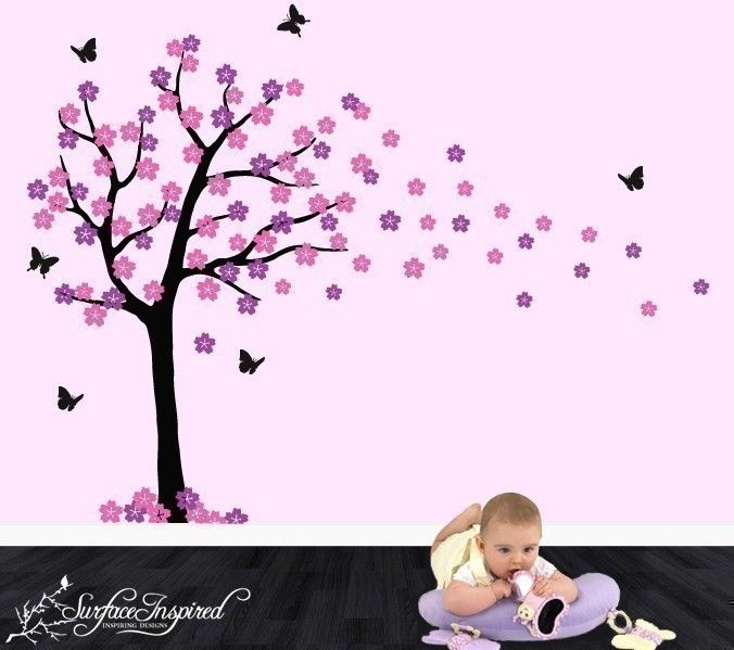 Nursery Wall Decals Baby Cherry Blossom Tree By SurfaceInspired - Custom vinyl wall decals falling off
