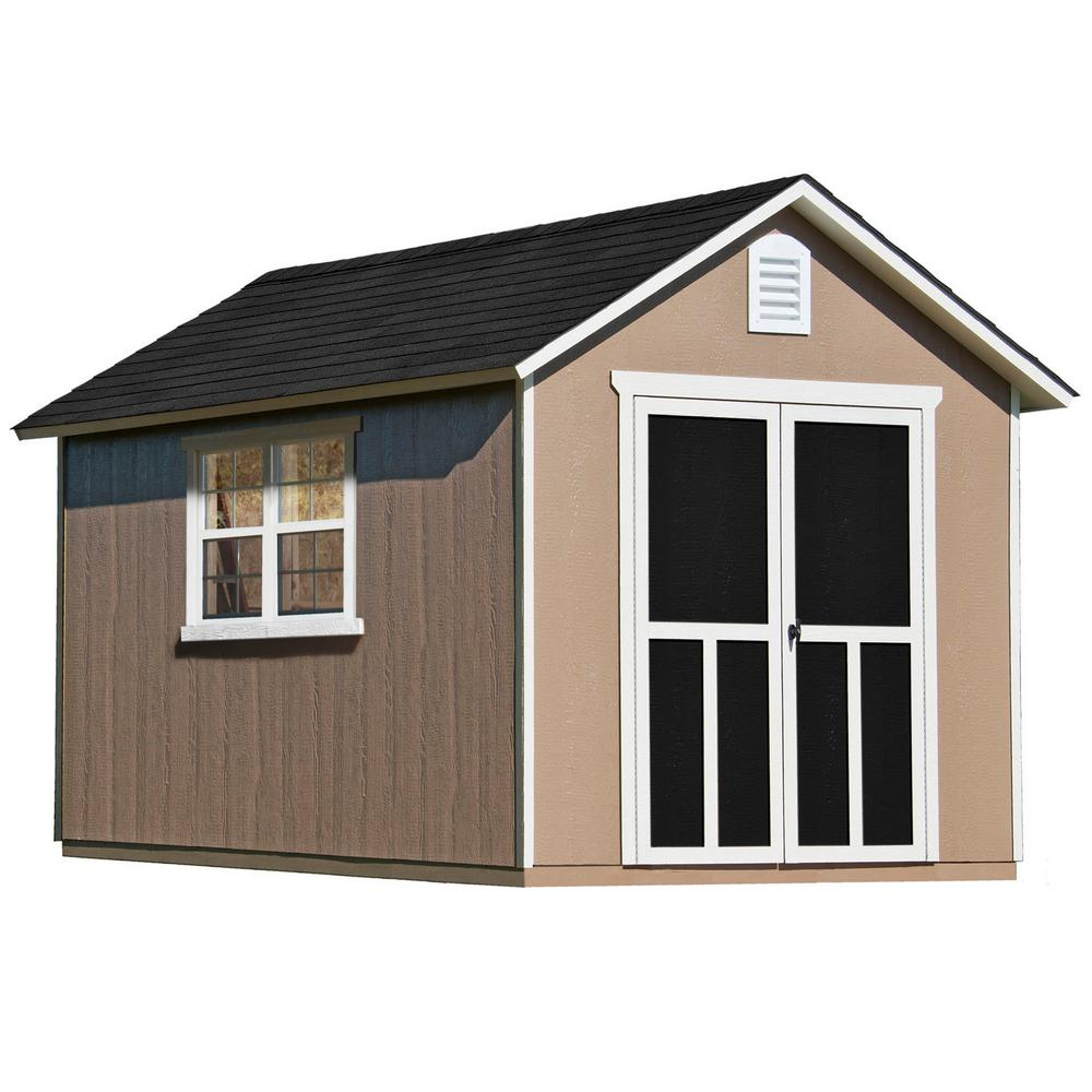Handy Home Products Installed Meridian Deluxe 8 Ft X 12 Ft Wood Storage Shed With Upgrades And Black Onyx Shingles 60756 1 The Home Depot Wood Storage Sheds Storage Shed Shed