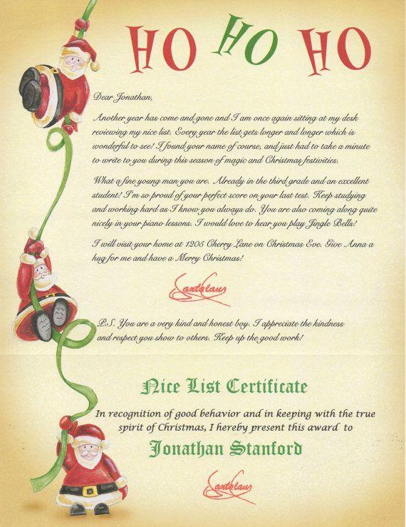 Nice list santa lettercertificate personalized by merrymailbox nice list santa letter certificate personalized letter from santa letter from santa to child spiritdancerdesigns Gallery
