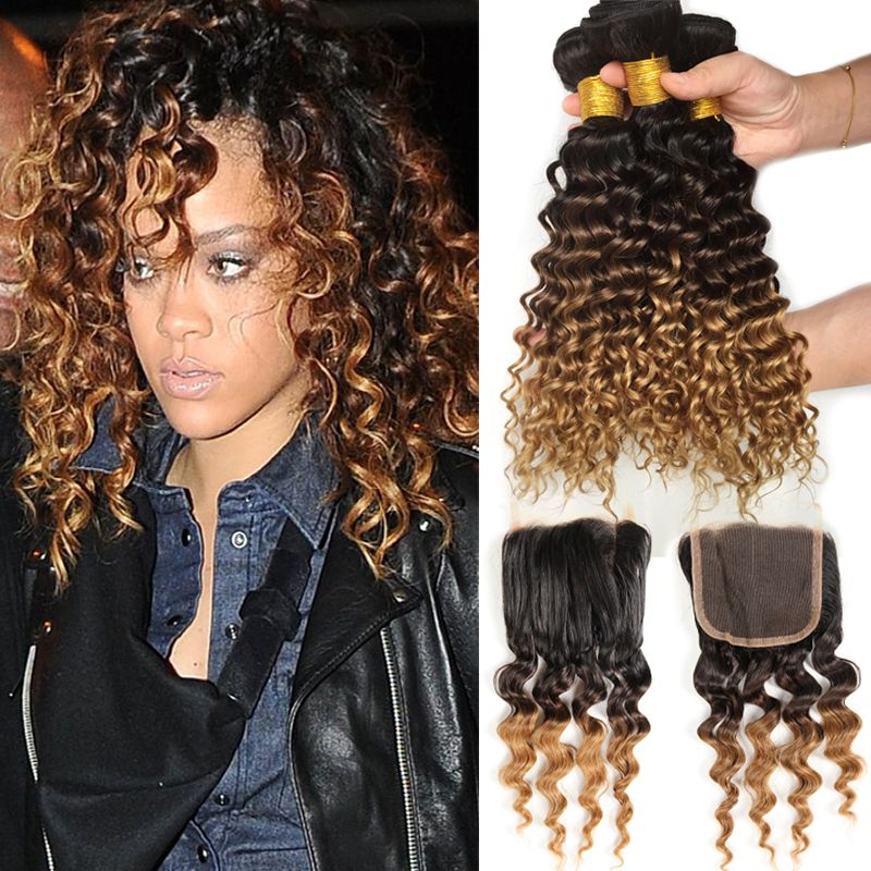 8a Cheap Ombre Peruvian Deep Curly With Closure 4pcsombre Deep Wave