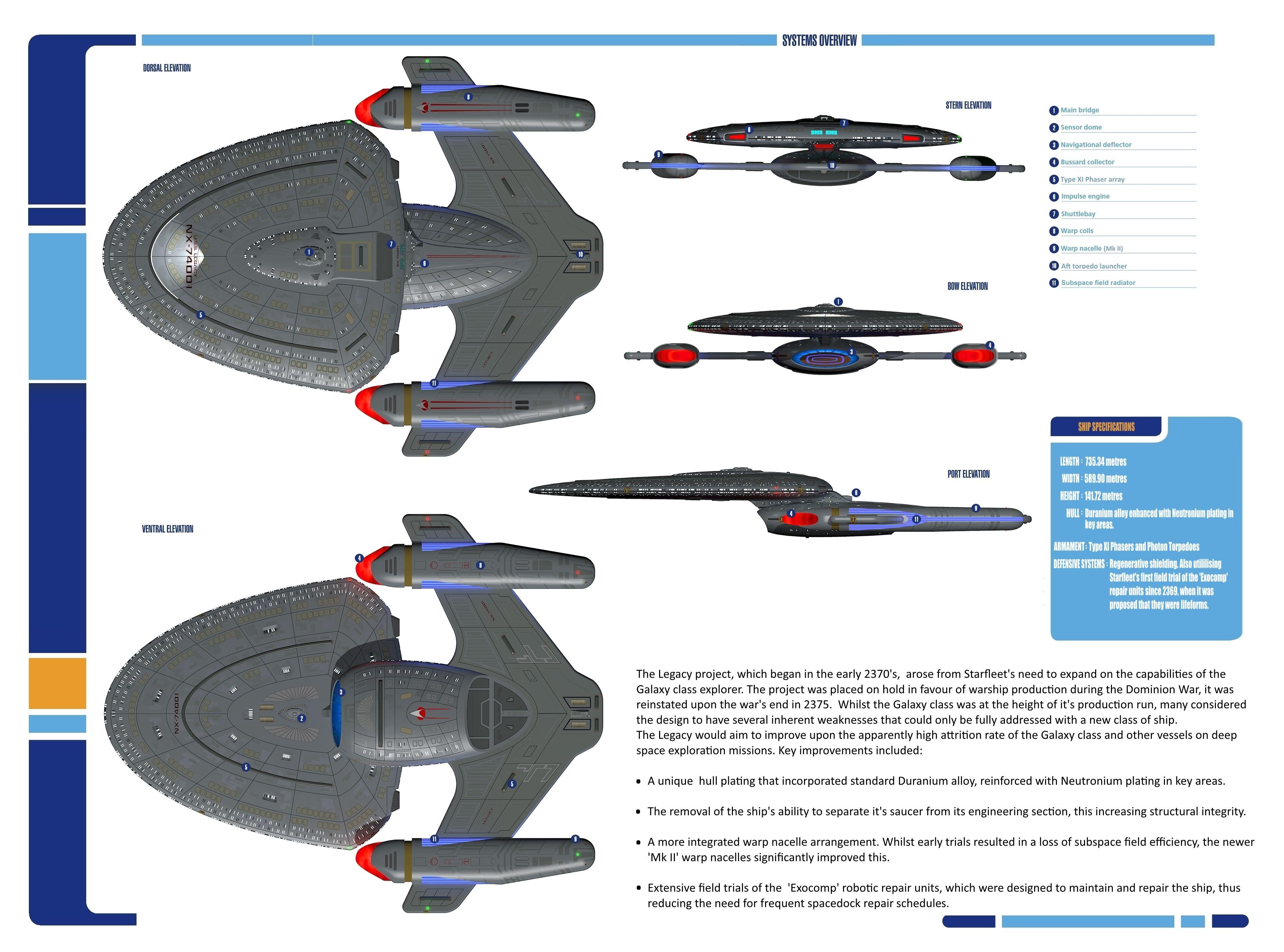 U S S Legacy Spec Sheet Haynes Manual Style Star Trek Starships Star Trek Ships Star Trek Images