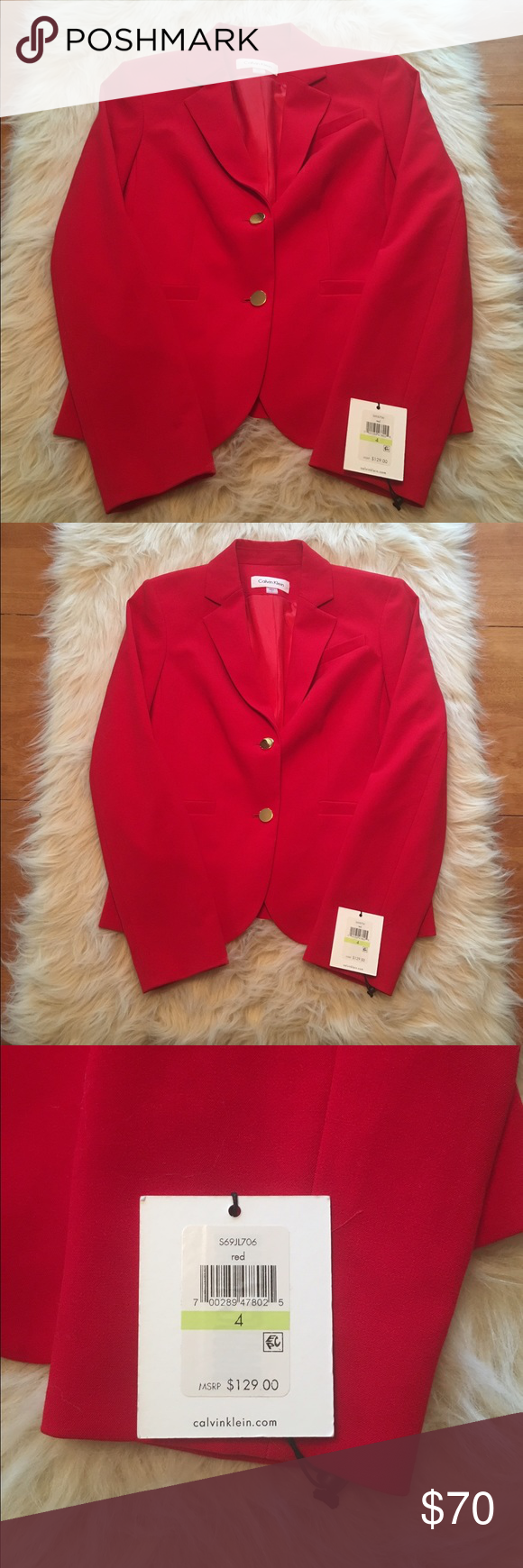 Stunning Calvin Klein suit jacket This GORGEOUS suit top is brand new with tags! The buttons are large and gold. Perfect for any time of the year. Take your work game up a notch with this gorgeous piece. Calvin Klein Jackets & Coats Blazers