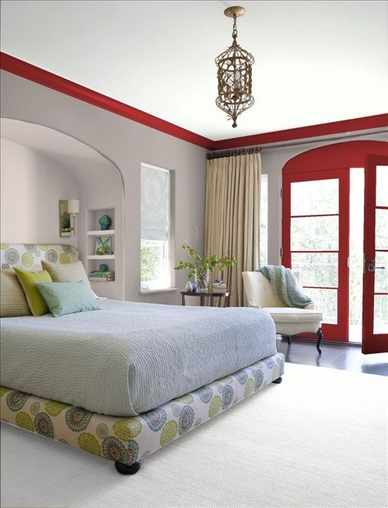 Gray Wall With Red Grey Walls And Red Trim Bedroom Color