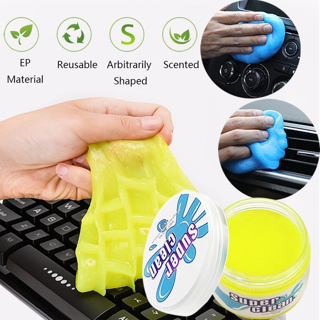 Yellow Screens Super Clean Keyboard Slime Dust Cleaner,Reusable Magic Keyboard Dust Soft Mud,Universal Gel Dust Slime Cleaner for Phone,Car Vents,Laptops,Cameras,Printers,Calculators