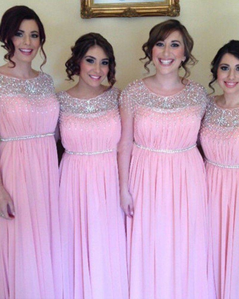 Jewel beading ruched chiffon pink pleated bridesmaid dress bd