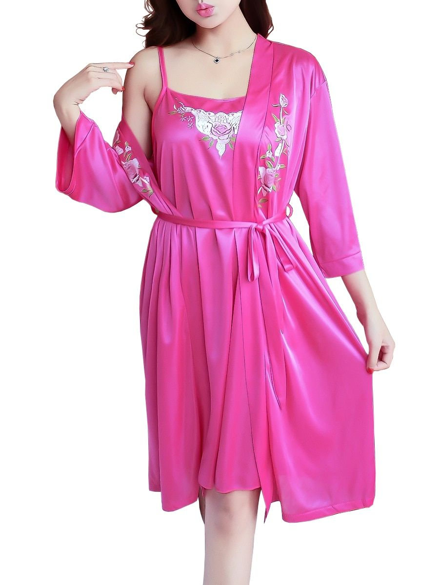 Buy Women s Sleepwear Set Flower Embroidery Comfy Night Dress With Robe   Women s  Pajamas - at Jolly Chic 6c8b65f90