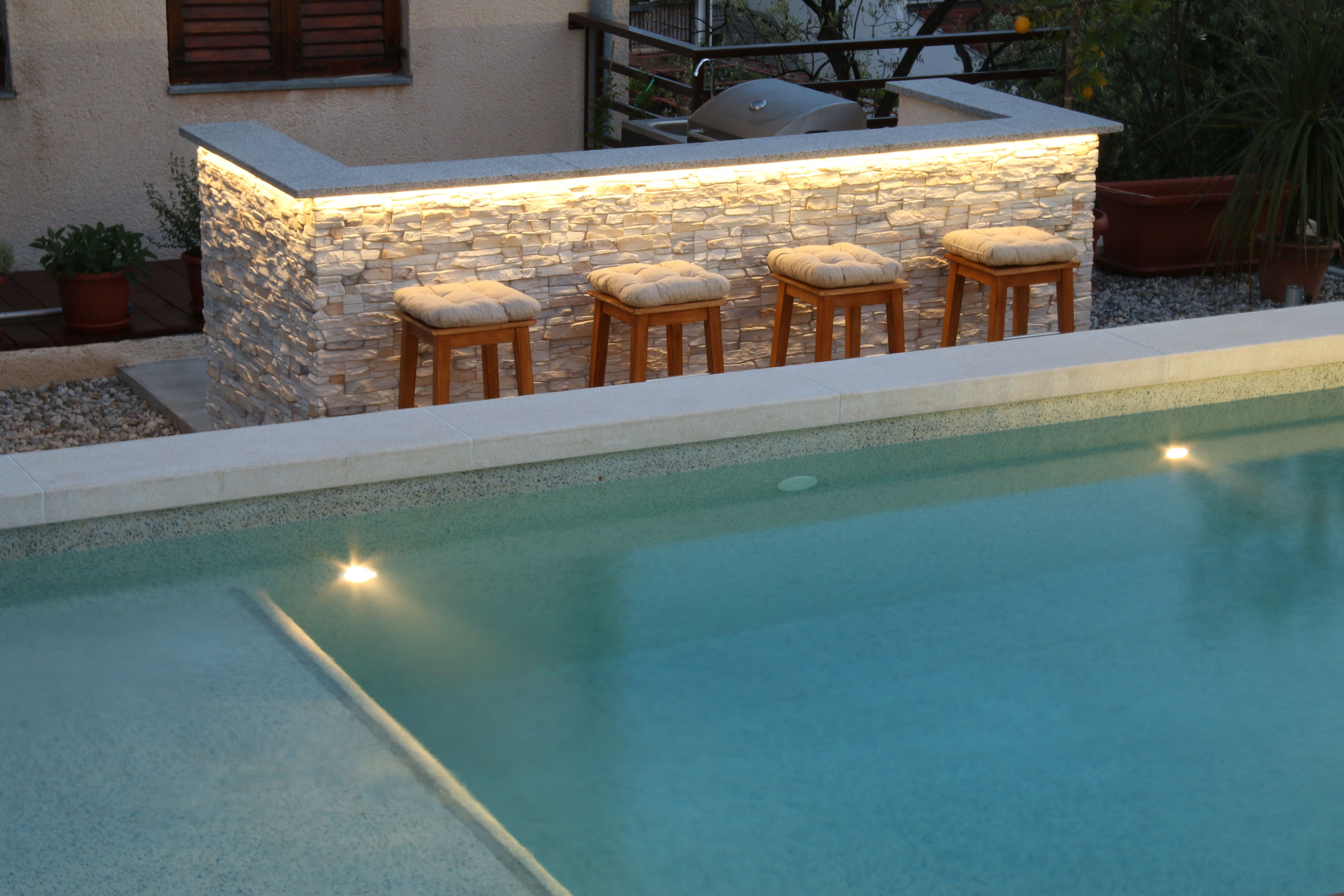 Pool bar for a cozy evening by the pool Pula, Croatia. Apartments Mocnik