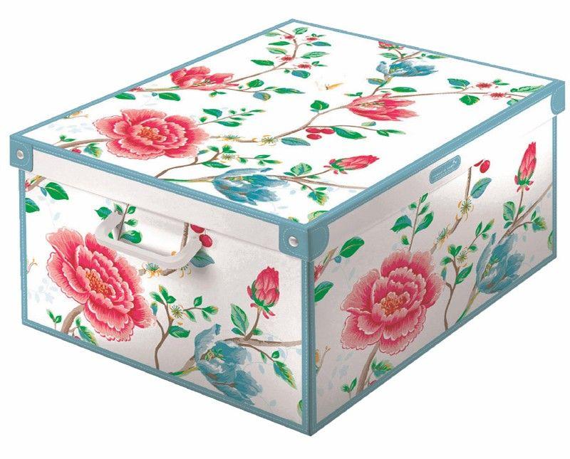 boite de rangement décorative carton avec couvercle, décor floral | Boite de rangement carton ...