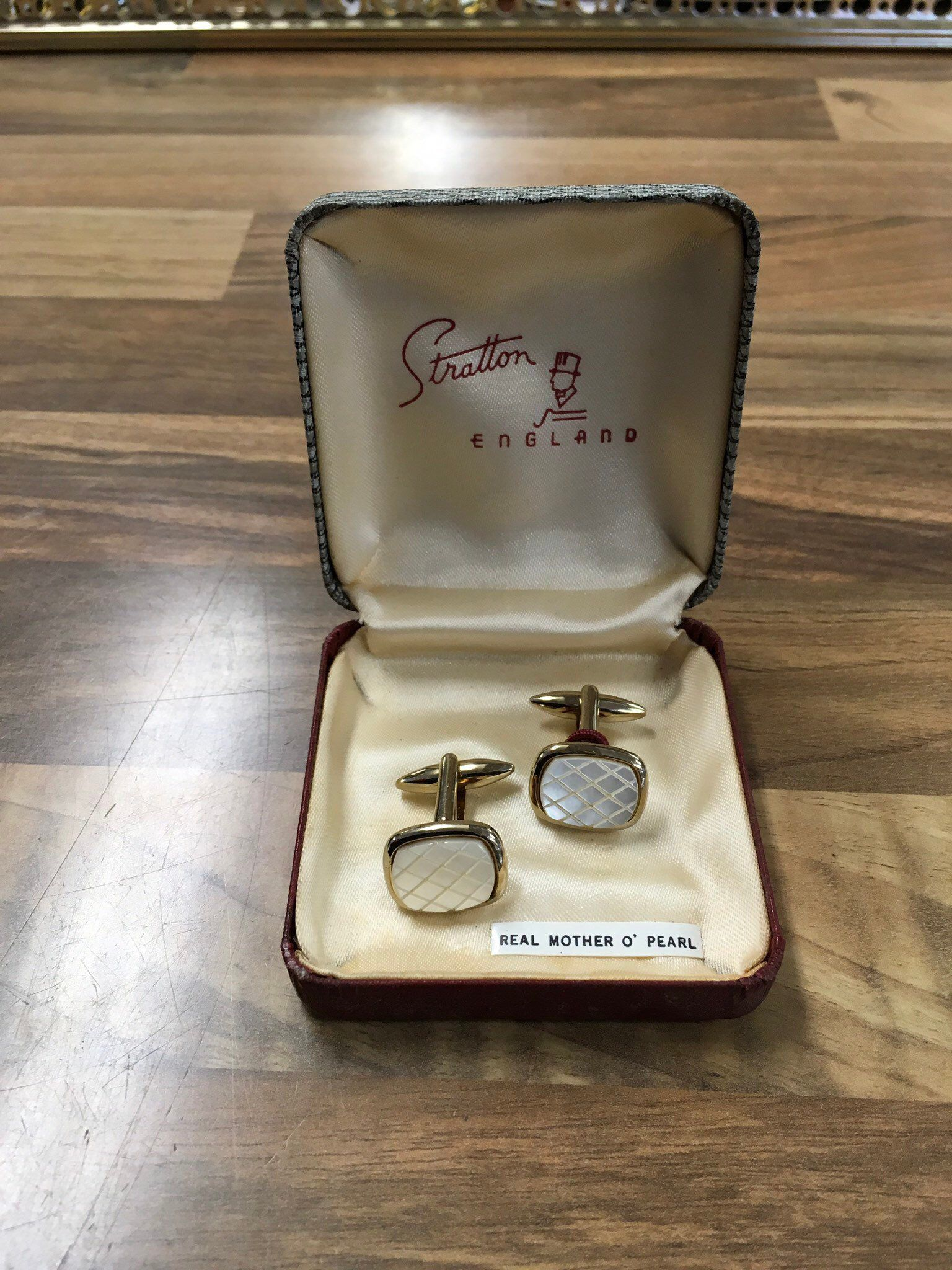 Vintage Stratton Cufflinks Gold Tone and Real Mother of