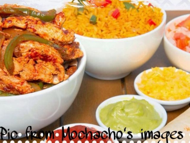 MOCK MOCHACHOS CHICKEN STRIPS & RICE with sides