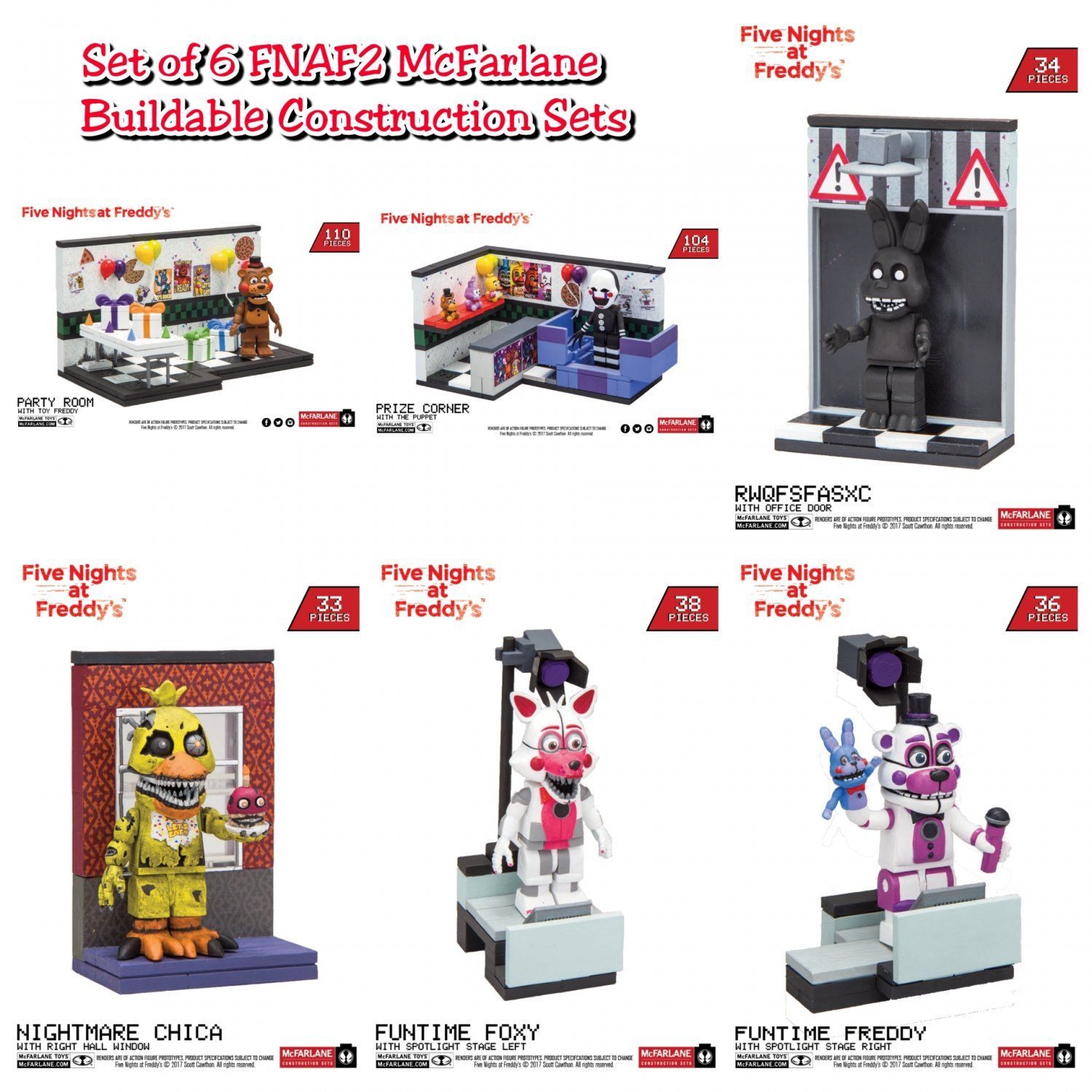 More five nights at freddy s construction sets coming soon - Lot Of 6 Mcfarlane Toys Five Nights At Freddy S Fnaf2 Buildable Construction Sets