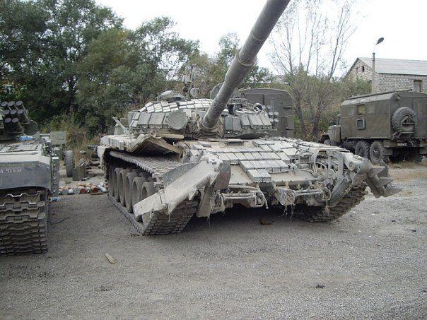 Captured Georgian equipments including T-72B1, after 2008 South Ossetian War.
