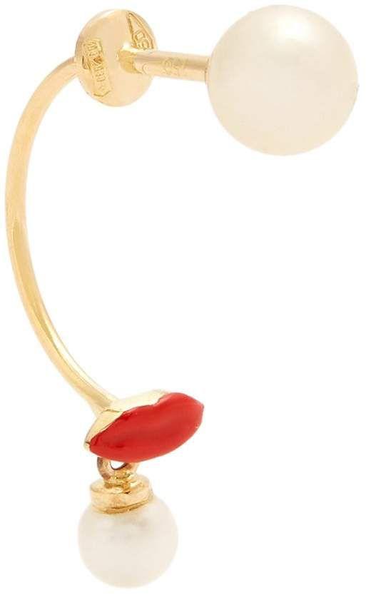 Pearl, enamel & yellow-gold single earring Delfina Delettrez