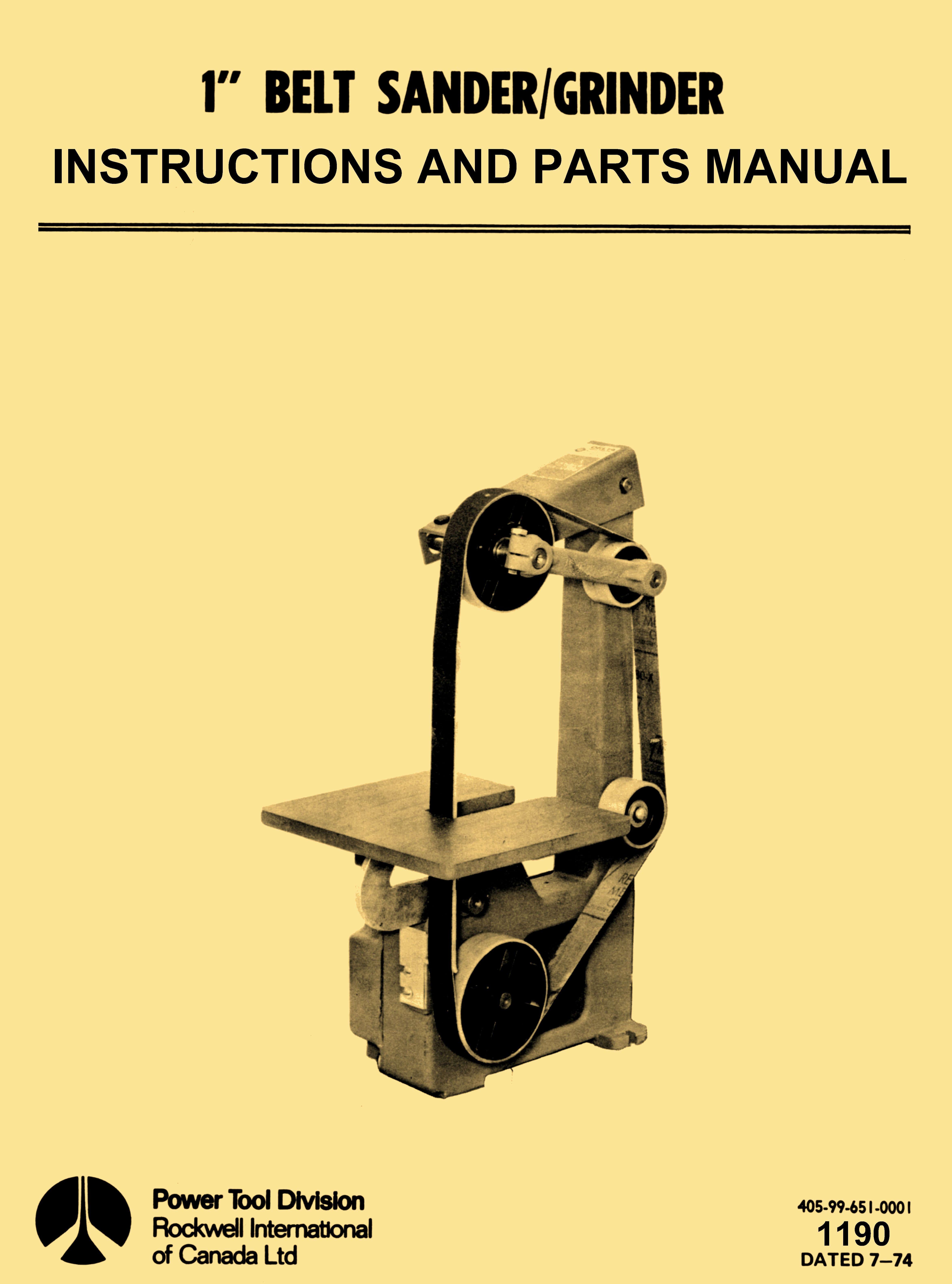 """Rockwell 1"""" Belt Sander-Grinder Cast Iron Base Operator Part Manual - http://ozarktoolmanuals.com/machinemanual/rockwell-1-belt-sander-grinder-cast-iron-base-operator-part-manual/ #DeltaMilwaukeeRockwell"""