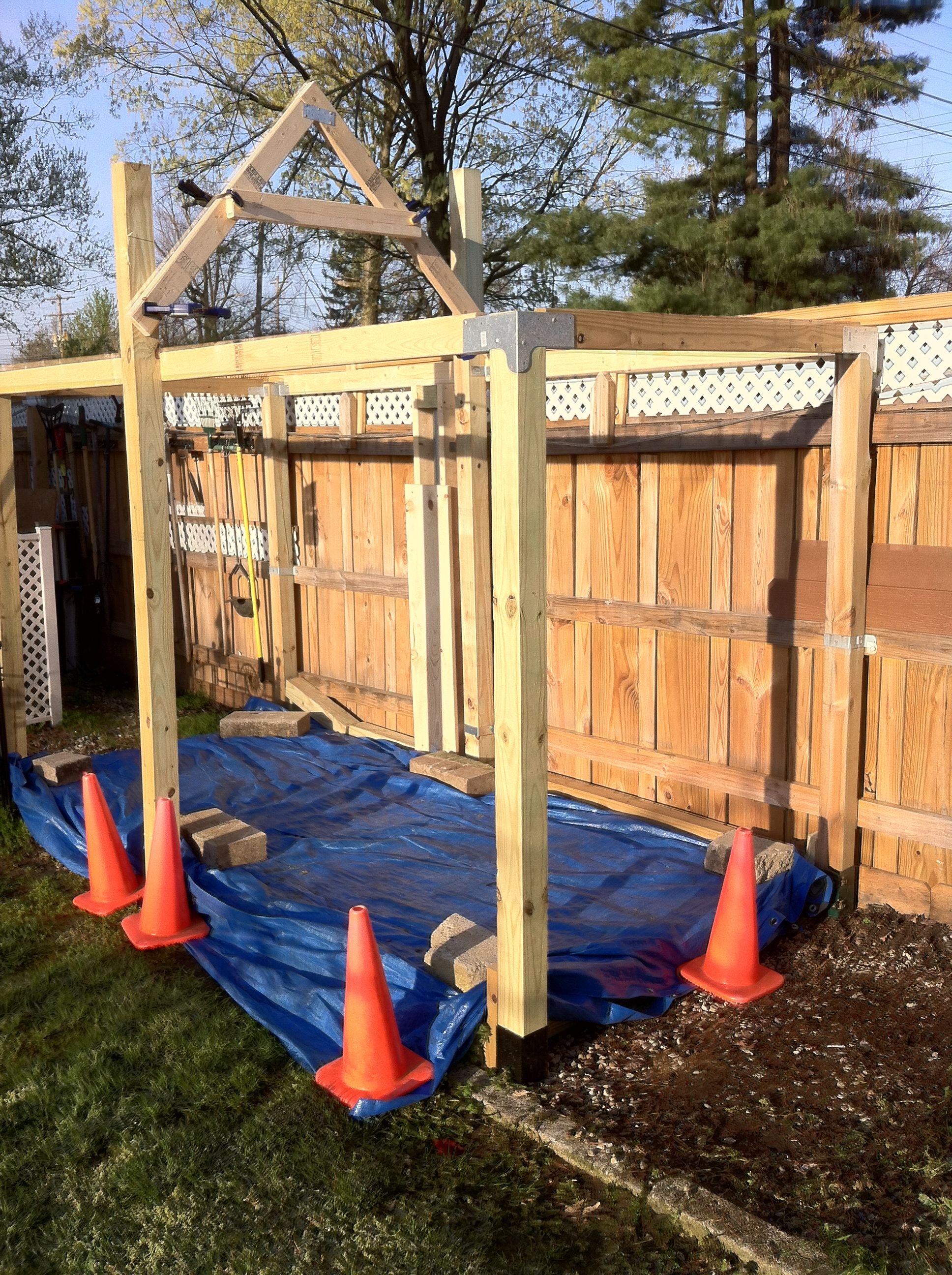 the 1st stage of building the small storage tool shed