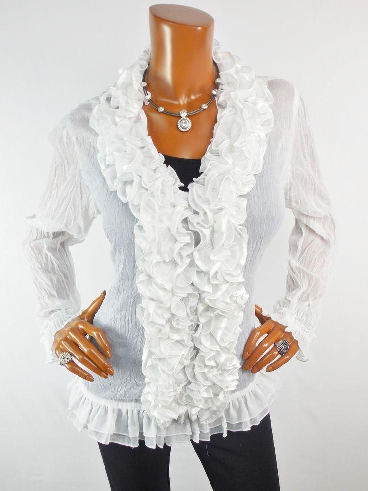 e6ead4372b7 SHENGDI Womens Top L SEXY White Dressy Blouse Casual Ruffled Shirt Sheer  Krinkle  Shengdi  Blouse  Casual